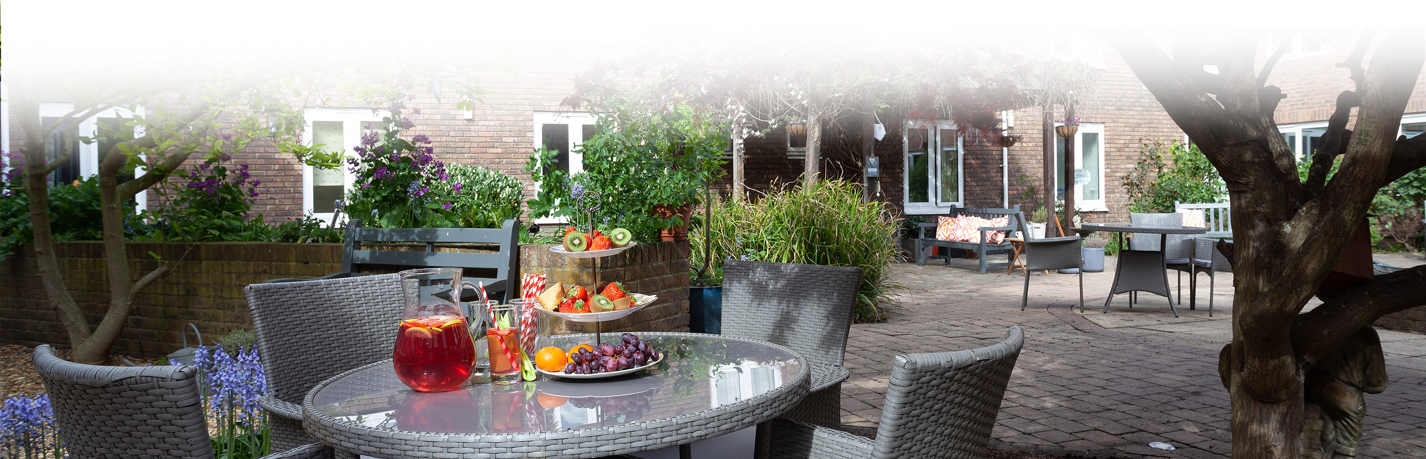 Outside table with fruit at Priory Court Care Home Epsom