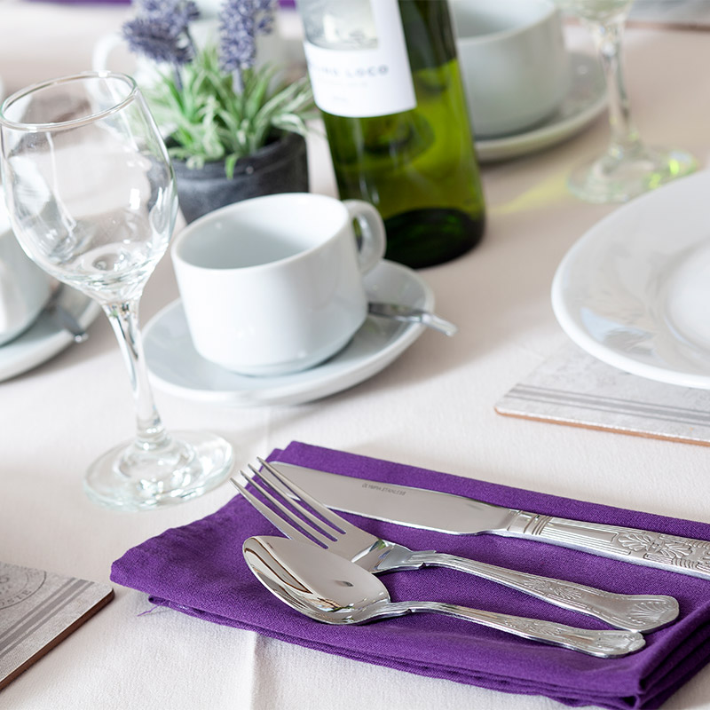 Dining table with cutlery
